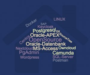 OpenSource WordPress Owncloud Nextcloud Centos LINUX Oracle-Datenbank MS-Access SQL-Server PgAdmin Oracle-APEX Postman Postgresql SourceTree Git Docker SAP Keycloak Camunda
